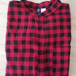 H&M Collarless Flannel Button-up